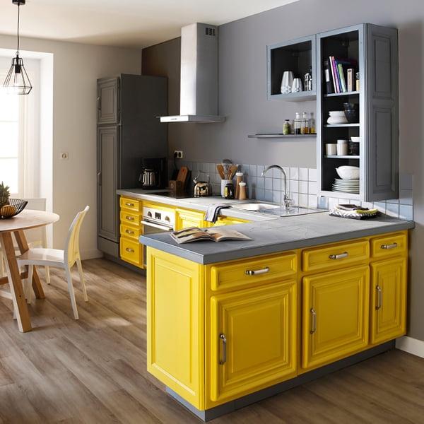 relooker meuble cuisine jaune gris