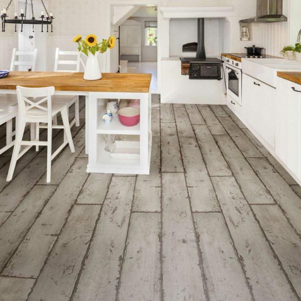 Revêtement sol lino cuisine rustique