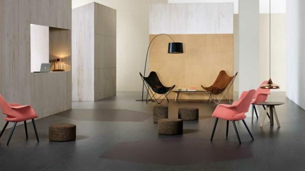 Revêtement sol lino salon minimaliste