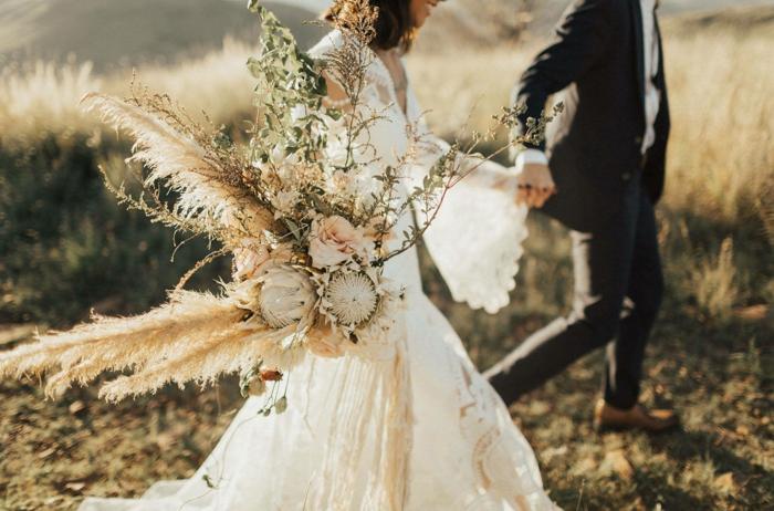bouquet de mariée herbe de la pampa