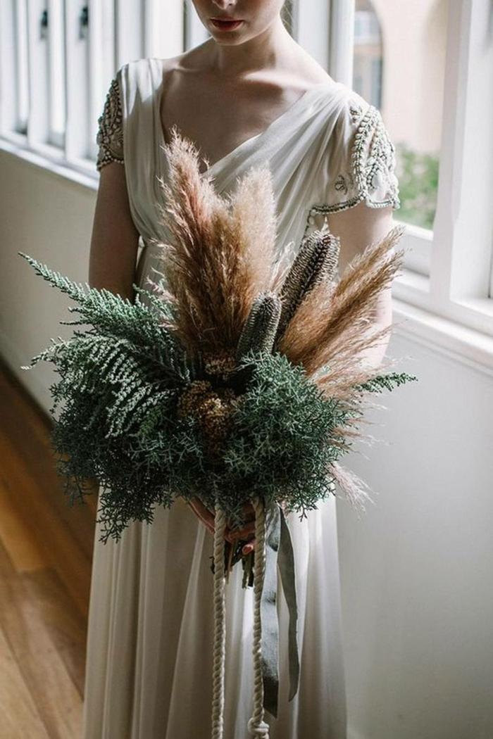 bouquet de mariée idée avec herbe de la pampa