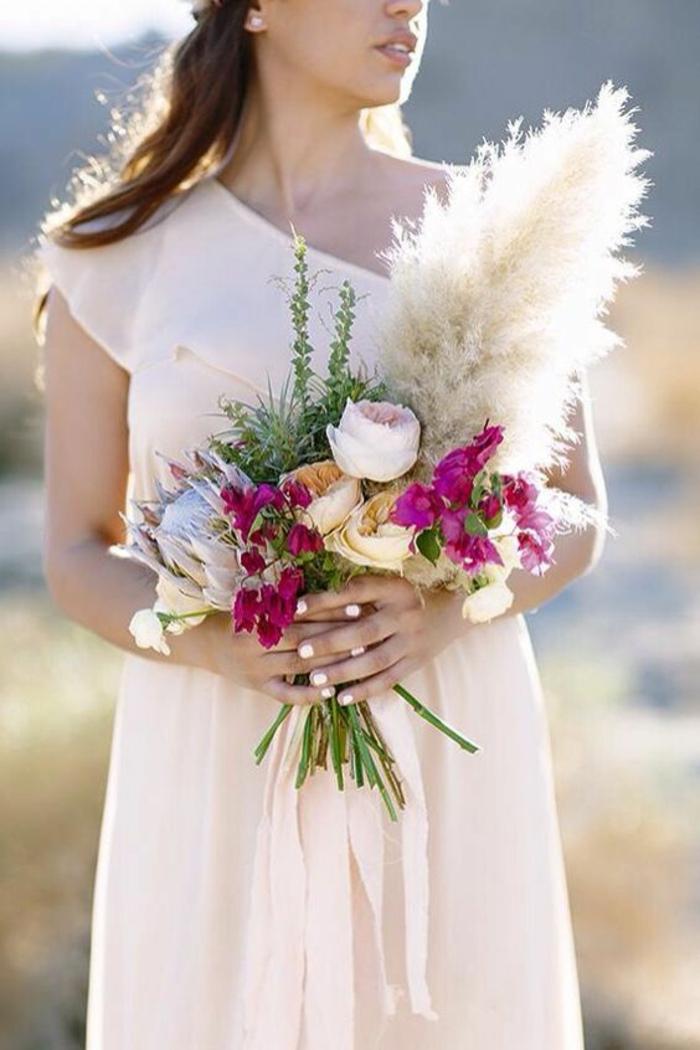 bouquet mariée herbe de la pampa