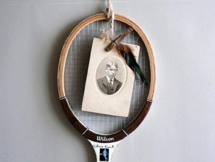 cadre photo avec une raquette de tennis idée