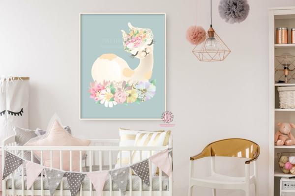 chambre bébé art mural déco lama