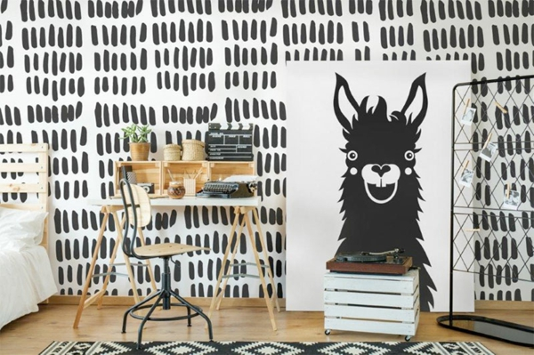 chambre minimaliste déco lama