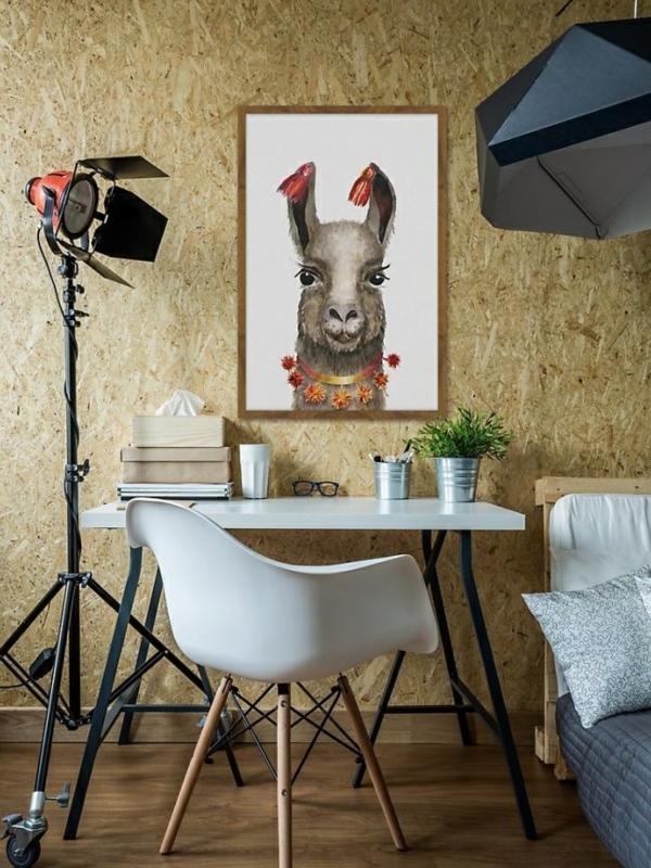 chambre moderne coin bureau déco lama