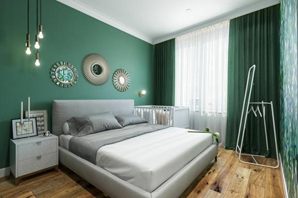 chambre peinture vert émeraude sol bois