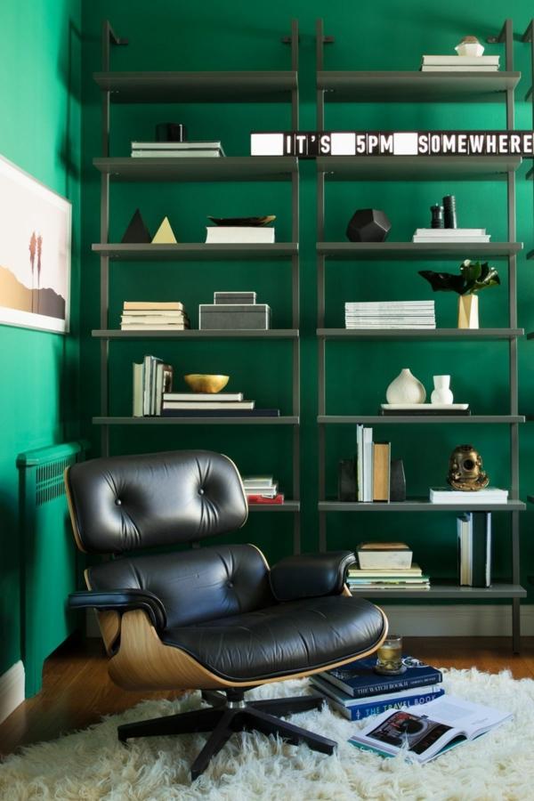coin lecture peinture vert émeraude fauteuil cuir