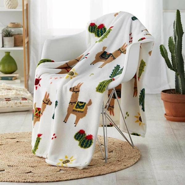 couverture lit tendance déco lama