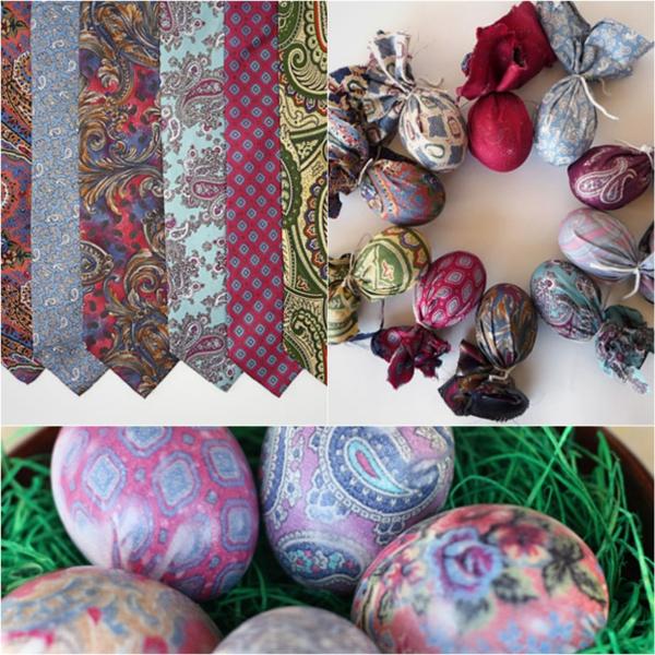 cravate en soie bouillir eau au vinaigre façon créative de décorer un œuf de Pâques