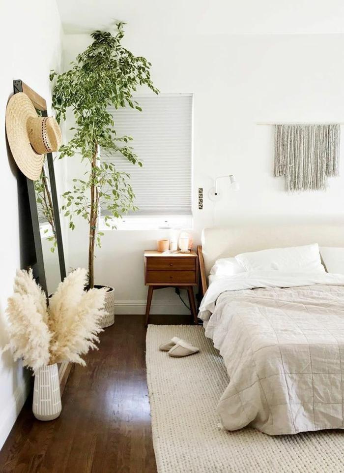 déco chambre à coucher avec herbe de la pampa idée