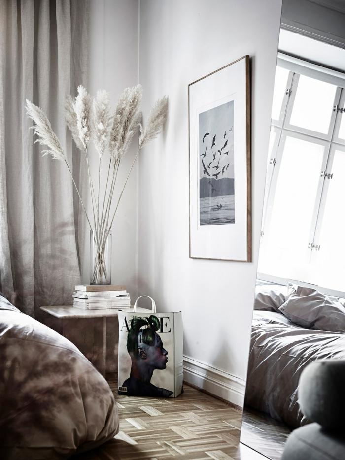 déco chambre à coucher avec herbe de la pampa