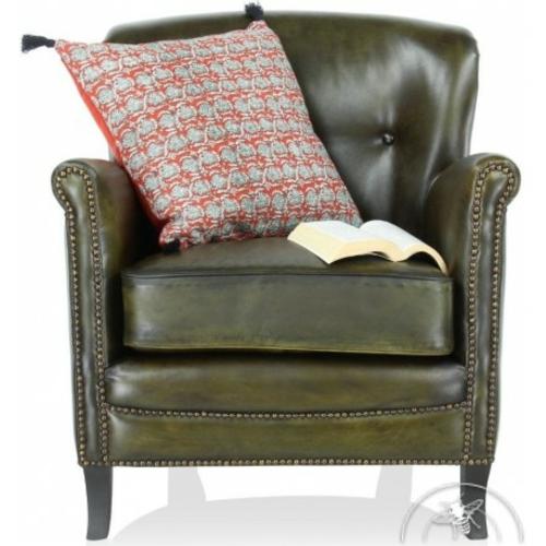 déco contemporaine fauteuil club cuir vert olive middletown