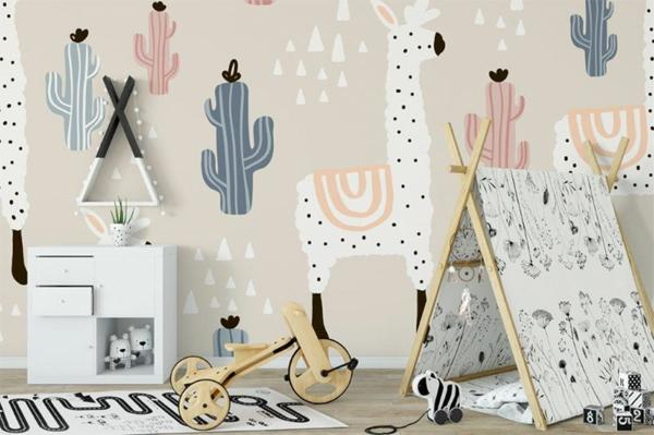 déco lama peinture murale chambre d'enfant