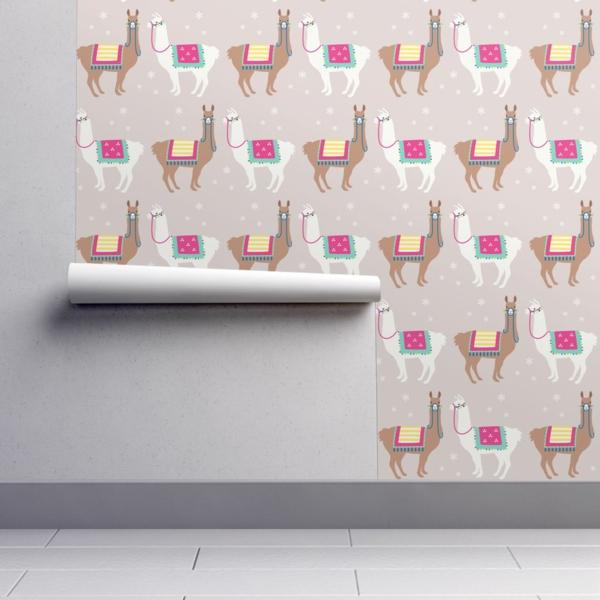 déco lama salon papier peint tendance