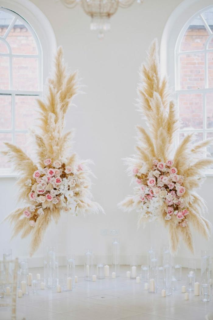 décoration roses et herbe de la pampa mariage