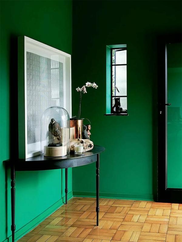 entrée peinture vert émeraude revêtement sol lino