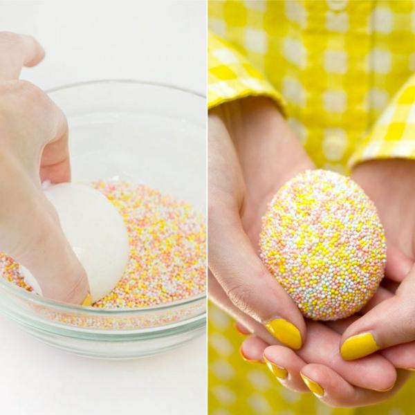 façon créative de décorer un œuf de Pâques perles en sucre colorées