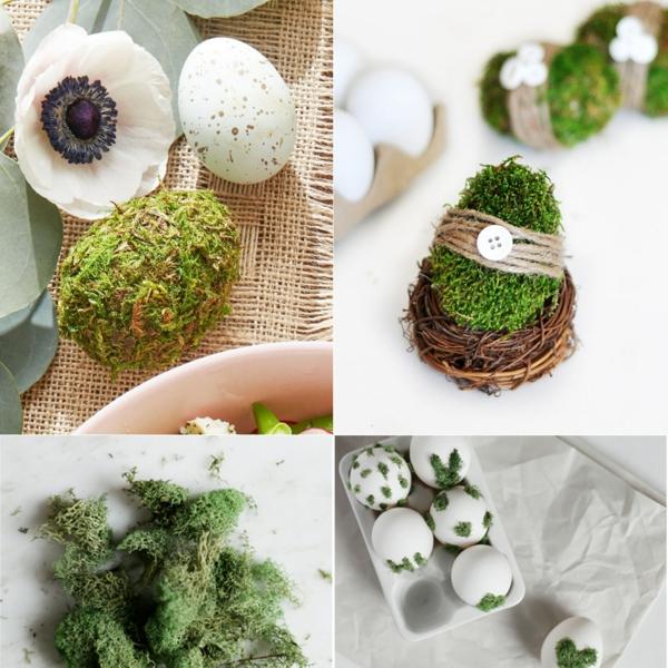 façons créatives de décorer un œuf de Pâques colle mousse végétale