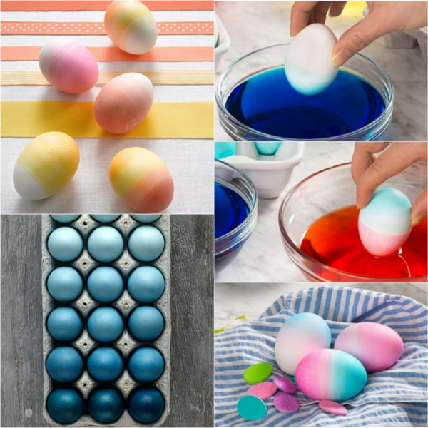 façons créatives de décorer un œuf de Pâques effet ombré