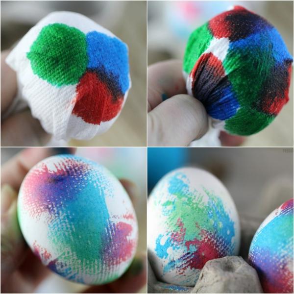 façons créatives de décorer un œuf de Pâques essuie-tout colorant