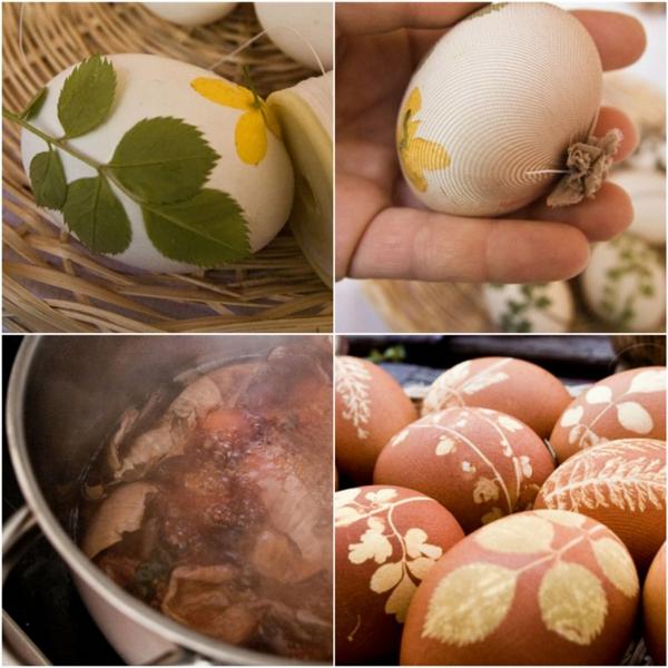 façons créatives de décorer un œuf de Pâques feuilles épluchures d'oignon