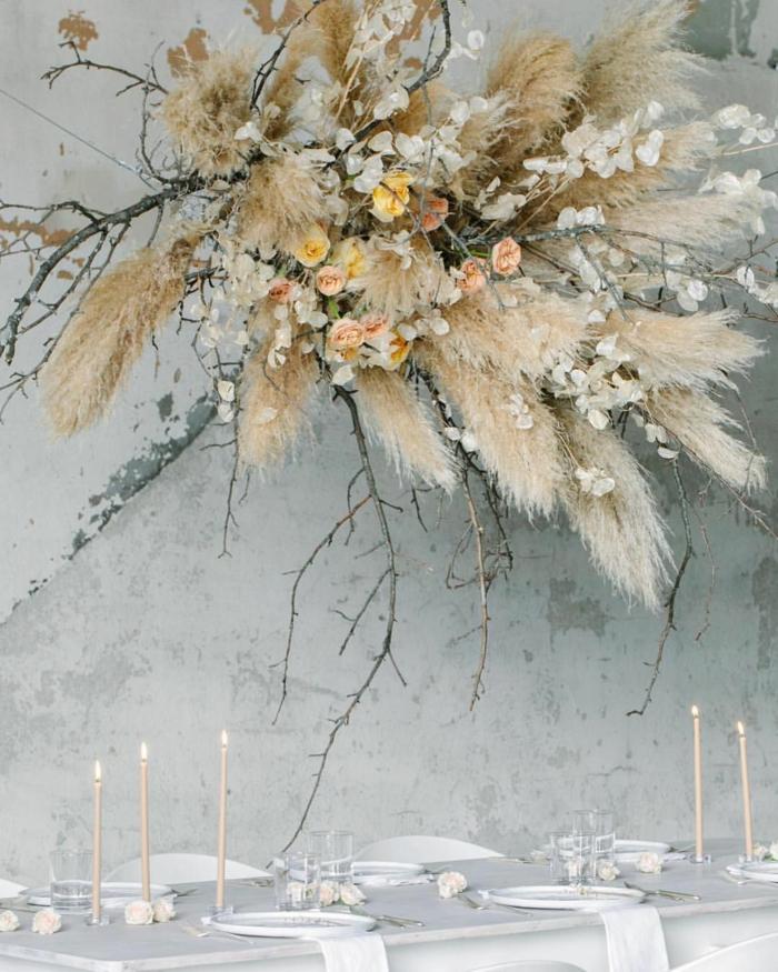 herbe de la pampa suspendue mariage déco