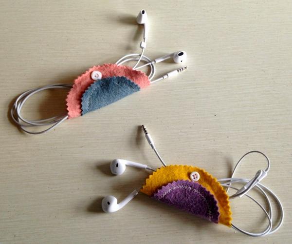 housse étui pour écouteurs téléphone DIY tissus multicolores