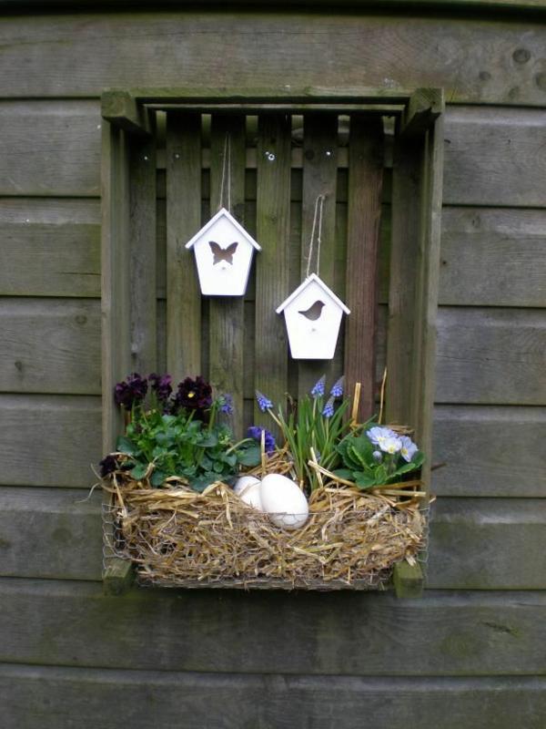 idée décoration de pâques à faire soi-même caisse de bois