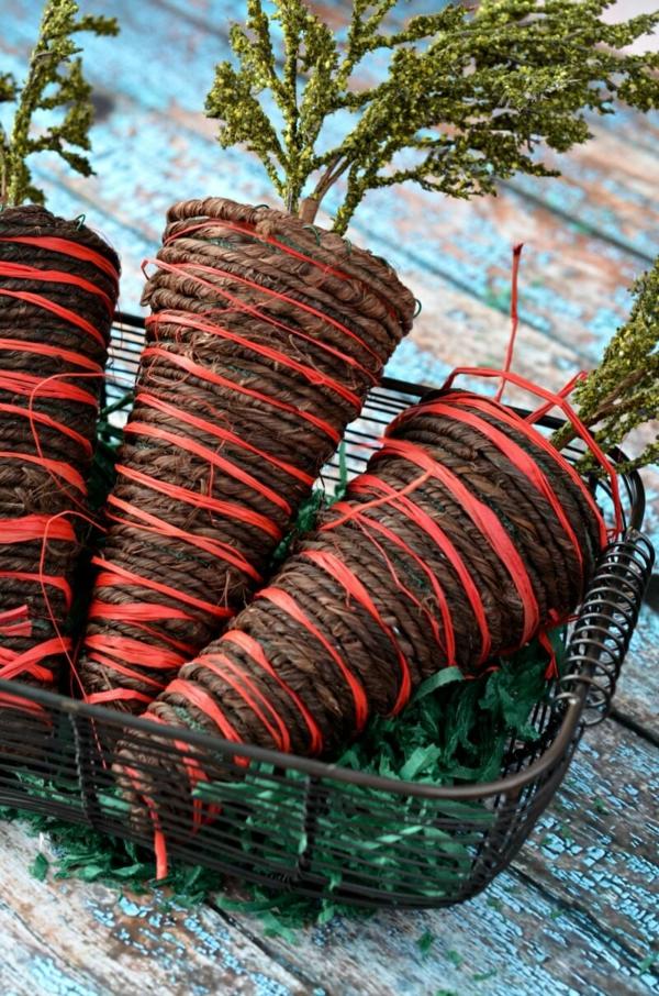 idée décoration de pâques à faire soi-même carottes en corde