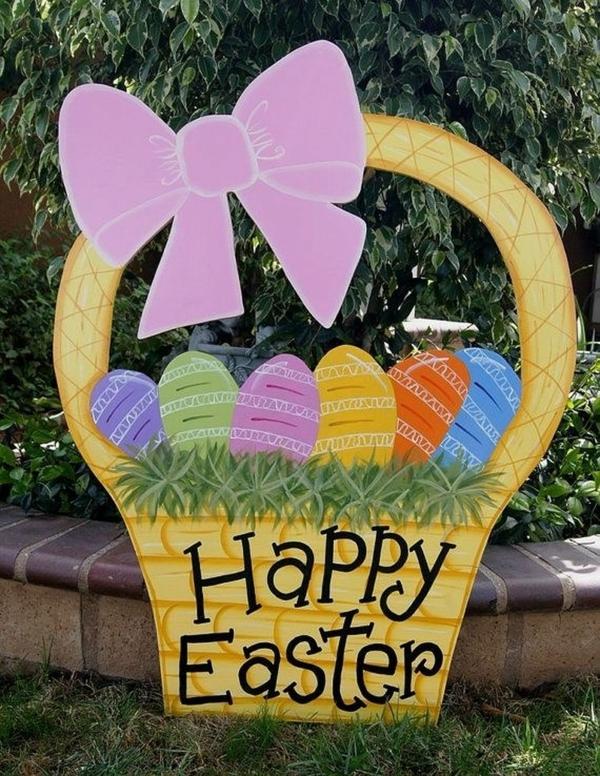 idée décoration de pâques à faire soi-même corbeille en carton