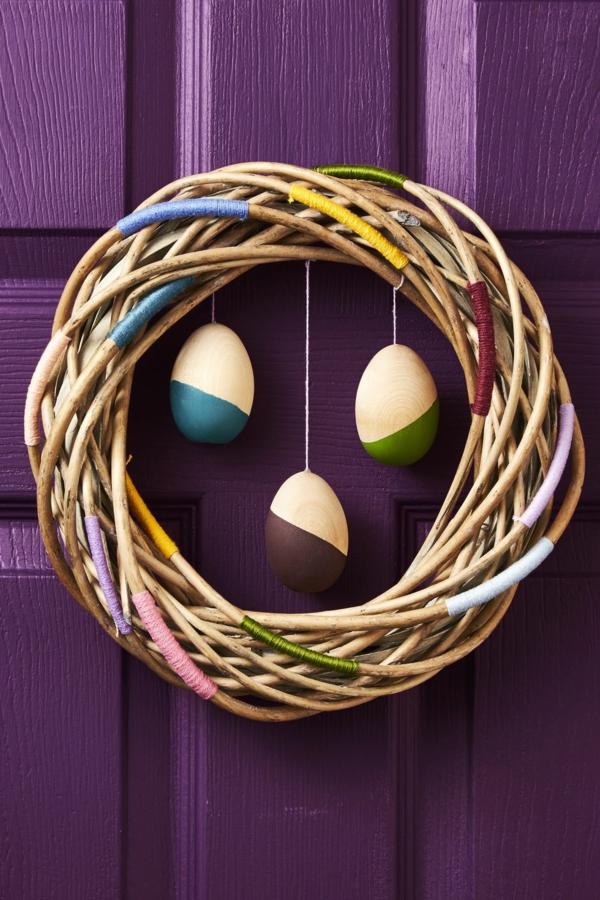 idée décoration de pâques à faire soi-même couronne branches de vigne