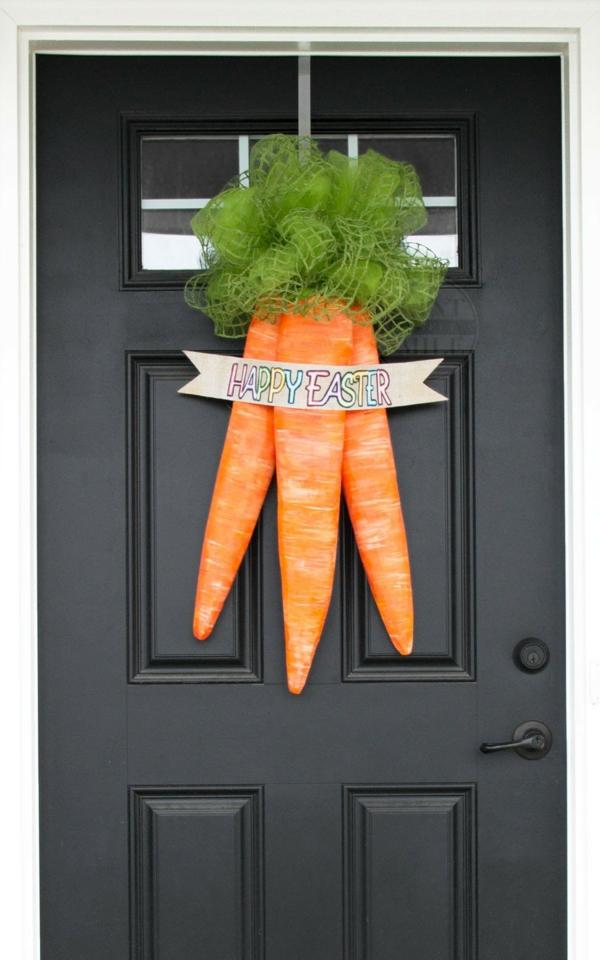 idée décoration de pâques à faire soi-même couronne carottes