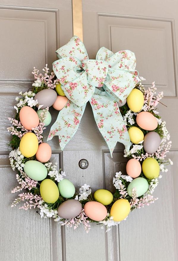 idée décoration de pâques à faire soi-même couronne de porte