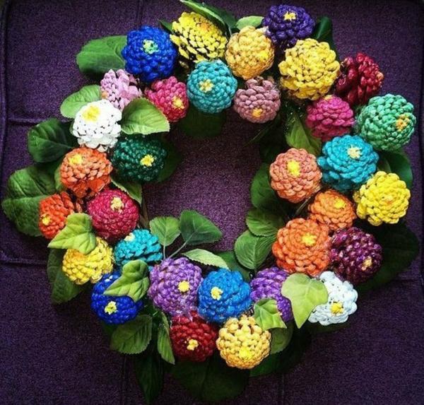 idée décoration de pâques à faire soi-même couronne pommes de pin
