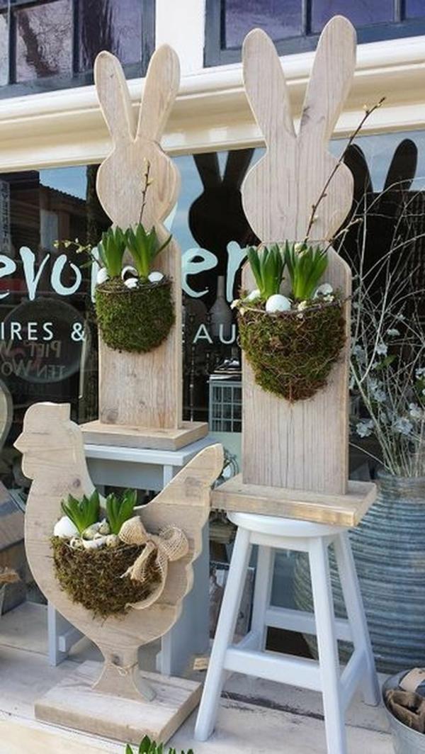idée décoration de pâques à faire soi-même jardinières en bois animaux