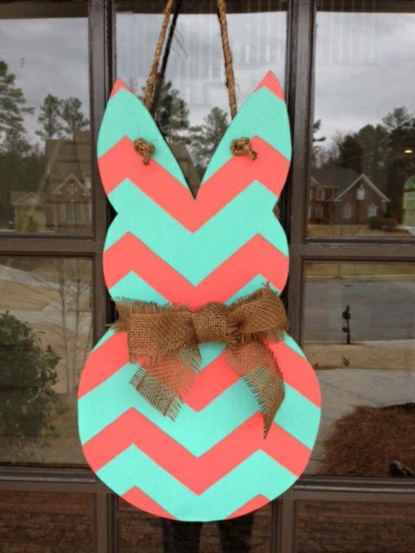 idée décoration de pâques à faire soi-même lapin déco de fenêtre