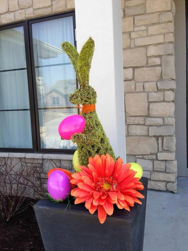 idée décoration de pâques à faire soi-même lapin en jardinière