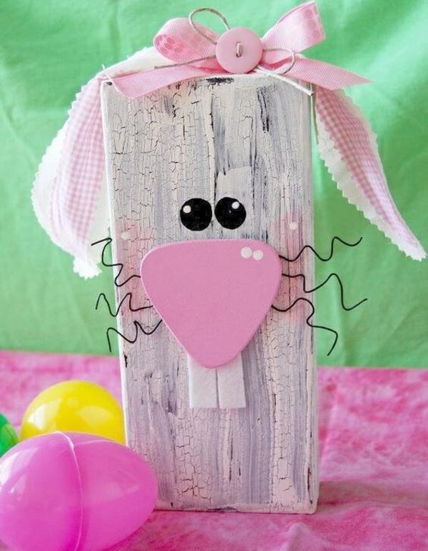 idée décoration de pâques à faire soi-même lapin rustique bois