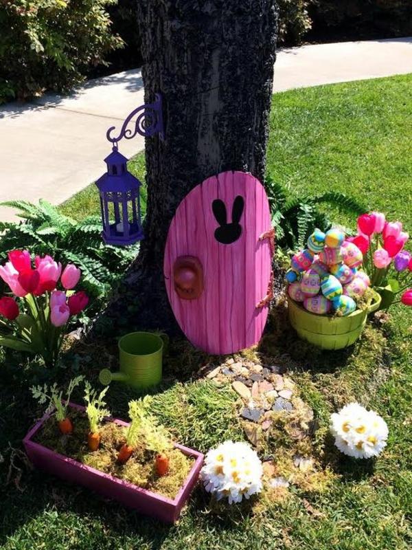 idée décoration de pâques à faire soi-même maison de lapin