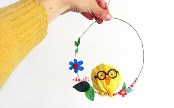 idée décoration de pâques à faire soi-même oiseau en fil de laine