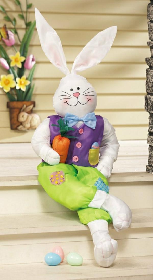 idée décoration de pâques à faire soi-même petit lapin en textile