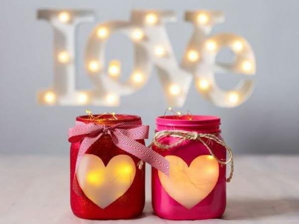 idée de déco saint-valentin à faire soi-même bocaux mason bougies