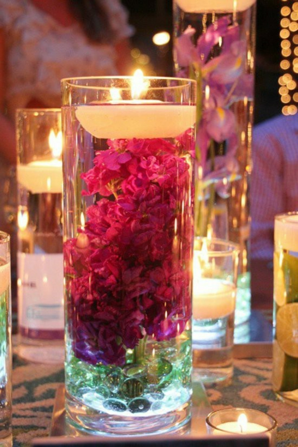 idée de déco saint-valentin à faire soi-même bougeoir décoré fleurs