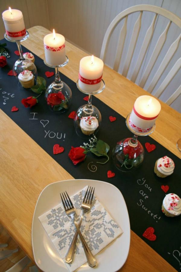 idée de déco saint-valentin à faire soi-même chemin de table romantique