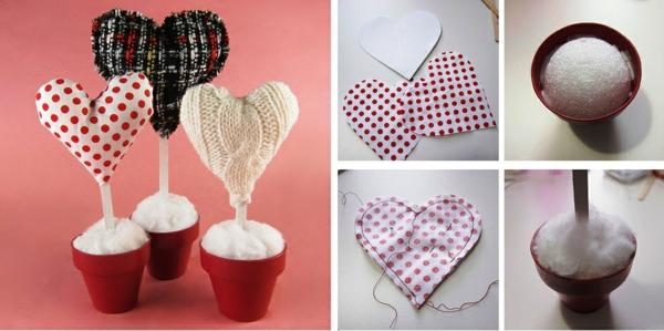 idée de déco saint-valentin à faire soi-même coeurs textile crochet