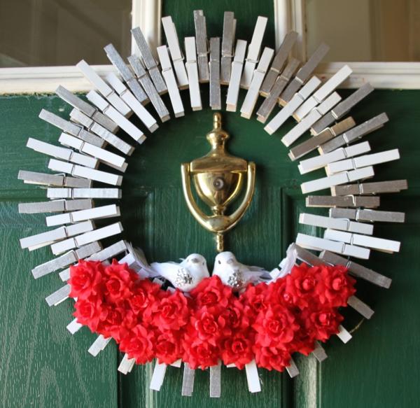 idée de déco saint-valentin à faire soi-même couronne de porte pinces à linge