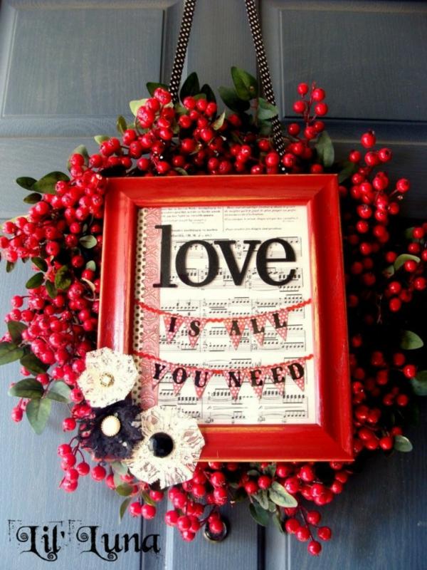 idée de déco saint-valentin à faire soi-même couronne de porte