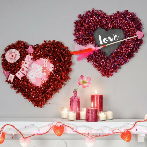 idée de déco saint-valentin à faire soi-même couronnes déco murale papier