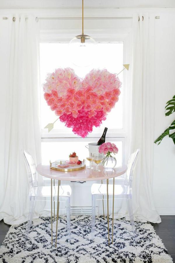 idée de déco saint-valentin à faire soi-même déco de fenêtre fleurs en papier